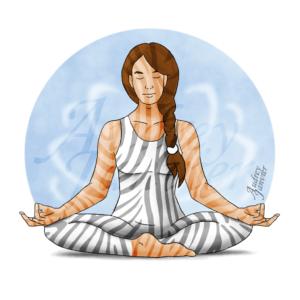 Avatar Zen & Zèbre, femme en méditation position chakra racine, rayures, hypersensible et haut potentiel