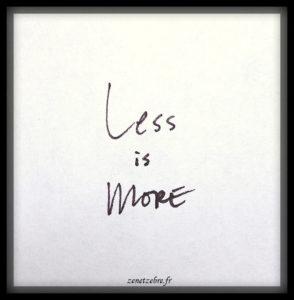 Less is more, citation positive sur le minimalisme, article sur Zen et Zèbre