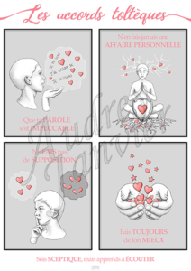 Affiche sur les Accords Toltèques pour les enfants réalisée par Audrey Janvier-Web