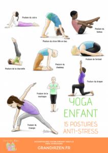Yoga pour enfants-15-postures avec les noms de Grandir Zen